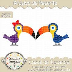 Cute Toucans, Casal de Tucanos, Couple, Laço, Ribbon, Aves, Pássaros, Bird, Birds, Corte Regular, Regular Cut, Silhouette, DXF, SVG, PNG
