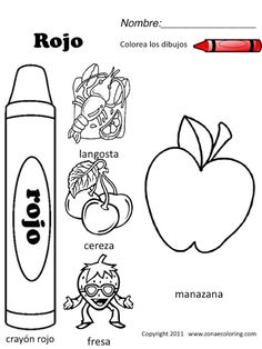 Spanish Colors Coloring Worksheet Sketch Page