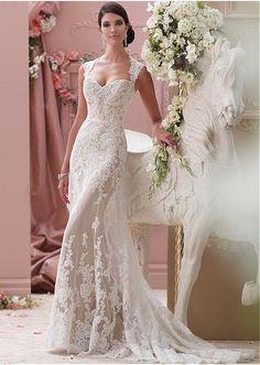 Robe de mariée Appliques Traîne Mi-longue Sans Ceinture Tissu Dentelle