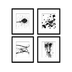 Paint Splash Modern, Black and White Art, Digital Black and White Art Prints, Geometric Art, Abstract Art, Contemporary Wall Art, Printable Wall Art