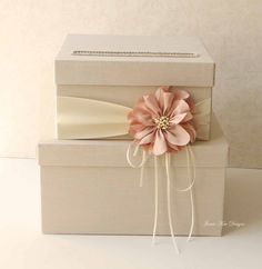 Nude Peach Wedding Card Box