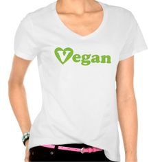 Vegan T-shirt with green text Vegan where the first letter V is written in a green heart shape. Modern fresh and professional design to express your belief. Heart shape is here because vegans have big heart full of love sharing it with animals and the whole planet. And because vegan life is the only life showing this love every single day by not eating animal products. I love you vegans! <3