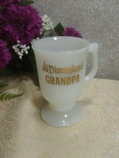 Disneyland Grandpa Milk Glass Coffee Cup Walt Disney by zantana