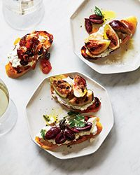 Collard green crostini with blue cheese and grape apple relish ricotta crostini with three toppings wine party foodswine forumfinder Image collections