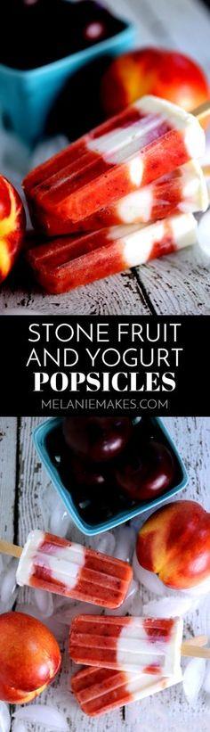Stone Fruit and Yogurt Popsicles Fresh Fruit Desserts, Köstliche Desserts, Best Dessert Recipes, Frozen Desserts, Frozen Treats, Sweet Recipes, Yogurt Popsicles, Homemade Popsicles, Frozen Yogurt