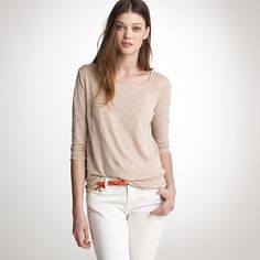 J.Crew Linen pullover was $69.50 now $39.99  item 38571. This sweatshirt is in 100 percent linen, so it's decidedly luxe and drapey and looks dressed up (even though it feels wispy and weightless). Peppered with uneven slub texture throughout. Boatneck with triangle inset. Three-quarter sleeves.