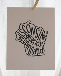 Wisconsin America's Dairyland - Place I Love Print - White Background - 8x10 Illustrated Print