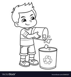 Boy throwing garbage in the trash can Royalty Free Vector Art Drawings For Kids, Outline Drawings, Art Drawings Sketches, Drawing For Kids, Bible Coloring Pages, Cartoon Coloring Pages, Animal Coloring Pages, Cartoon Boy, Cartoon Pics