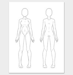 Female Body Outline Front And Back Template Fashion Design
