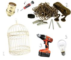 DIY: Vintage Birdcage Lamp - Sugar & Cloth, You are in the right place about flying Birds DIY Here w Vintage Diy, Vintage Birds, Vintage Birdcage, French Vintage, Vintage Clocks, Birdcage Light, Birdcage Chandelier, Diy Bird Cage, Bird Cages