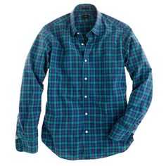 J.Crew // Slim Secret Wash shirt in point green tartan