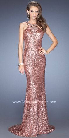 La Femme Allover Sequin Beaded Neckline Open Back Prom Dresses