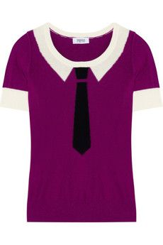 Take your knitwear collection from classic to cool with Sonia by Sonia Rykiel's cotton and cashmere-blend top. With a playful tie intarsia and in a vibrant violet hue, it's guaranteed to brighten your wardrobe - wear it with tailored pants and brogues for a playful take on preppy.
