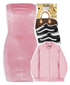 """little pink dress. "" by yourmajestytaay ❤ liked on Polyvore featuring Louis Vuitton, Vans and Boohoo"