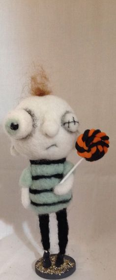 Zach the zombie ooak needle felted art doll by papermoongallery, $59.00