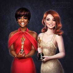Oscars: Viola Davis and Emma Stone by daekazu on DeviantArt