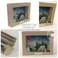 Stamp · Pray · Love: Thursday: Always an Adventure Shadow Box Card by Michelle Andrews Fun Fold Cards, 3d Cards, Pop Up Cards, Cool Cards, Xmas Cards, Box Cards Tutorial, Card Tutorials, Shadow Box, Camping Cards