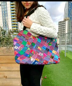 Handmade multicoloured fabric medium tote bag, featuring artistic Guatemalan huipil design, zipped and lined, original everyday shoulder bag Medium Tote, Market Bag, Everyday Bag, Handmade Design, Black Nylons, Handmade Bags, Tote Bags, Diaper Bag, Clutches