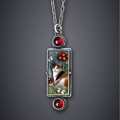"""Calico Cat Necklace""  Silver & Stone Necklace    Created by Dawn Estrin"