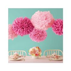 Pink Tissue Pom Pom Set (large | heading into Spring, nothing is better than an outdoor party. Hang these around - from the trees, a gazebo, marquee or run a string, they look like floating blossoms! #confettimagspring