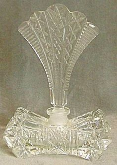 Vintage Clear Cut Glass Perfume Bottle
