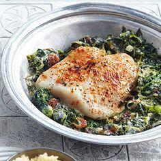 Fischfilet in Joghurt-Spinat