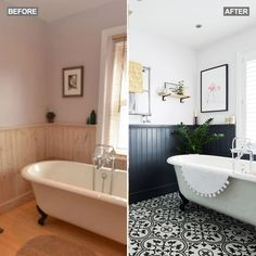 Bathroom make-over - dated to statement. Inspired by the origins of this Victorian terrace house, the owners have given this dated bathroom a modern makeover with statement tiles. Via Ideal Home magazine. Bathroom Paneling, Bathroom Flooring, Bathroom Interior, Bathroom Lino Floor, Black Bathroom Furniture, Painting Bathroom Tiles, Bathroom Beadboard, Bathroom Cladding, Bathroom Wall
