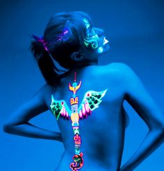 UV tattoo, Never judge a person because they have tattoos. Uv Tattoo, Uv Ink Tattoos, Light Tattoo, Dark Tattoo, Tatoos, Girl Tattoos, Paint Tattoo, Airbrush Tattoo, Crazy Tattoos