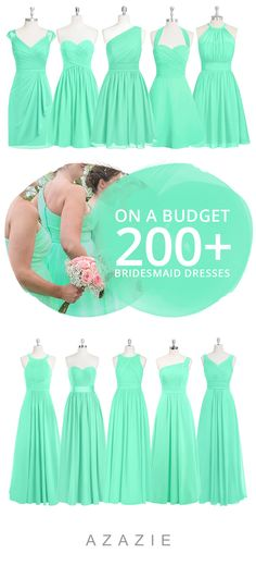 Mixing-and-matching your bridesmaids is easy! Azazie offers 50+ colors to choose from. We offer color swatches to make mixing & matching easier. Wedding tip: Try out our sample program before you purchase to make sure you are completely in love with a dress! Azazie has over 200 styles from delicate lace to bold satins. Shop our affordable bridesmaid dresses today!