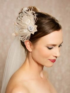 Champagne Blush Bridal Headpiece, Peacock Fascinator, Wedding Hair accessories, Bridal Hair Piece, Feather Hair Clip - HARLOW by Gilded Shadows $98.00