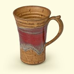 Latte Mug by Mountain Arts Pottery - shown here in Mocha Red River Glaze