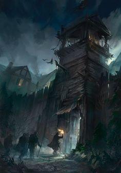 fantasy concept gate epic medieval dark town magic rpg concepts artwork environment village illustrator landscape 5e bolla digital swamp castle