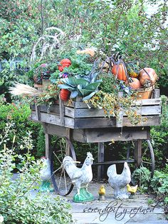 Pallet wood fall harvest cart with pumpkins and bittersweet by Serendipity refined