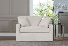New Sure Fit Premier Collection Acadia 2 Pc Loveseat Cover Box Cushion Oyster #SureFit #Contemporary