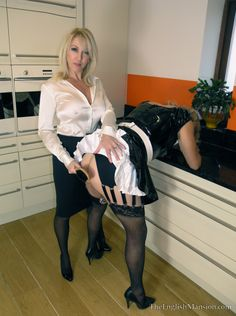 """chasteandimpure: """"Oh no, she hasn't done anything wrong. Sissy is a well trained and obedient maid. I like to remind her who is in charge. Perhaps you would like to have a go when we are finished? Establish a pecking order. """""""