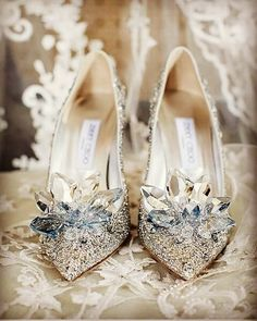 Every bride deserves to feel like a princess on her wedding day. Do you like these Cinderella shoes? Shoes by Every bride deserves to feel like a princess on her wedding day. Do you like these Cinderella shoes? Shoes by Jimmy Choo Prom Shoes Silver, Sparkly Wedding Shoes, Bridal Shoes, Wedding Heels, Wedding Bride, Princess Wedding, Manolo Blahnik, Prom Heels, Shoes Heels