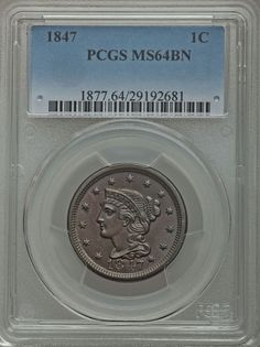 1847 Large Cent PCGS MS64. Available now at Finger Lakes Numismatics. Visit our store or contact us at (315) 308-6943 or email us at coins.fln@gmail.com