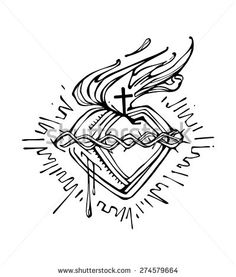 Hand drawn vector illustration or drawing of Jesus Christ Sacred Heart - stock vector