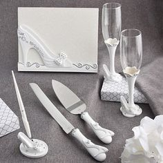 Shop for Fashioncraft Fairy Tale Wedding Accessory Set. Get free delivery On EVERYTHING* Overstock - Your Online Wedding Planning Shop! Wedding Flutes, Wedding Party Favors, Wedding Reception, Wedding Decorations, Wedding Day, Dream Wedding, Wedding 2015, Wedding Themes, Wedding Stuff