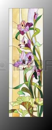 Manchado: Bosquejo de vidrio de color púrpura con gladiolos