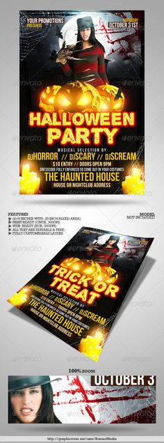 Halloween Party Flyer Template | Halloween Party Flyer, Party