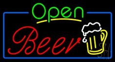 Green Open Beer Red Neon Sign 20 Tall x 37 Wide x 3 Deep, is 100% Handcrafted with Real Glass Tube Neon Sign. !!! Made in USA !!!  Colors on the sign are Yellow, Green, Blue, White and Red. Green Open Beer Red Neon Sign is high impact, eye catching, real glass tube neon sign. This characteristic glow can attract customers like nothing else, virtually burning your identity into the minds of potential and future customers.