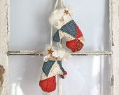 Sweet Mittens Country Christmas or Rustic Cottage Decor.  Vintage muslin quilt with red blue white roping muslin,