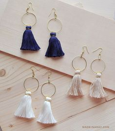 Back with yet another Trendy DIY Tassel project Tassel Hoop Earrings on the blog today tassels tasselearrings anthrohack jewelry earrings diy gold