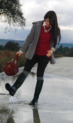 Burgundy and rain | aliciaentrelazosyvestidos outfits Invierno 2012 | 17-1-2013 | Truendy