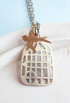 Bird Necklace Handmade Bird Cage with Gold