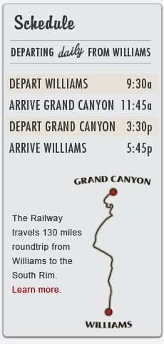 Grand Canyon Train -- leaves Grand Canyon at 3:30... for a relaxing trip to Williams.