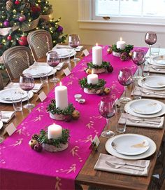 Dining Room, Holiday Dinner Table Good Pink Color Table Cool Small Candles Good Plates Nice White Color Good Table Large Shaped Good Tree: The Good Picture Designs Of Kitchen Table Centerpiece Ideas That Looks So Nice Christmas Table Settings, Christmas Tablescapes, Christmas Table Decorations, Holiday Tables, Festival Decorations, Decoration Table, Holiday Dinner, Simple Centerpieces, Holiday Centerpieces