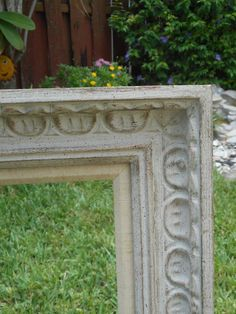 Antique Vintage Victorian Large Heavy Thick White Hand Carved Solid Wood Empty Picture Frame ~ Marked The Crane Made in Sweden