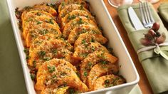 Crispy bread crumbs add a bit of crunch to tender slices of butternut squash seasoned with garlic and Parmesan.